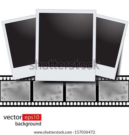 Blank film strip on a white background  - stock vector