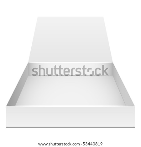 Blank flat opened box isolated on white. Front view. - stock vector