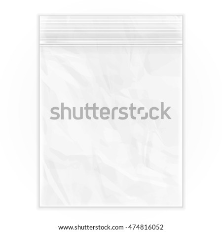 Blank Flat Poly Clear Bag Empty Plastic Polyethylene Pouch Packaging With Zipper, Ziplock. Illustration Isolated On White Background. Mock Up Template. Ready For Your Design. Vector EPS10