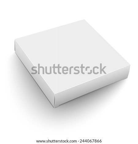 Blank flat square box template lying on white background Packaging collection. Vector illustration. - stock vector