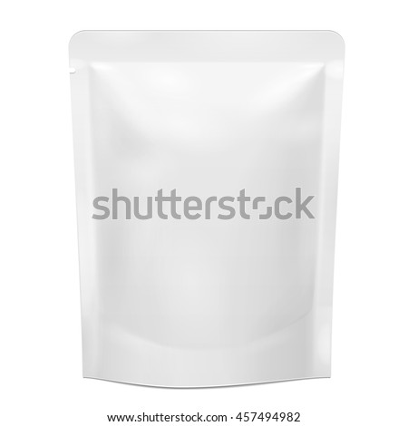 Blank Foil Food Doy Pack Stand Up Pouch Sachet Bag Packaging. Illustration Isolated On White Background. Mock Up, Mockup Template Ready For Your Design. Vector EPS10