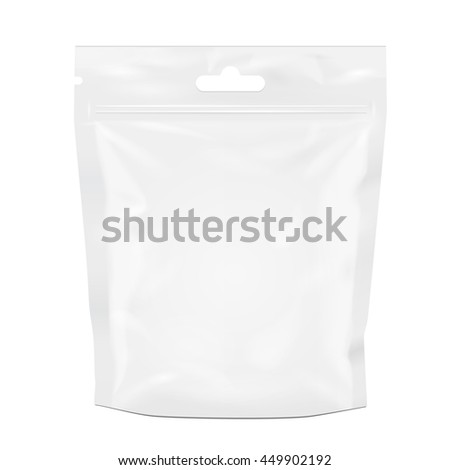 Blank Foil Food Or Drink Doy Pack, Doypack Bag Packaging. Illustration Isolated On White Background. Mock Up, Mockup Template Ready For Your Design. Vector EPS10 - stock vector