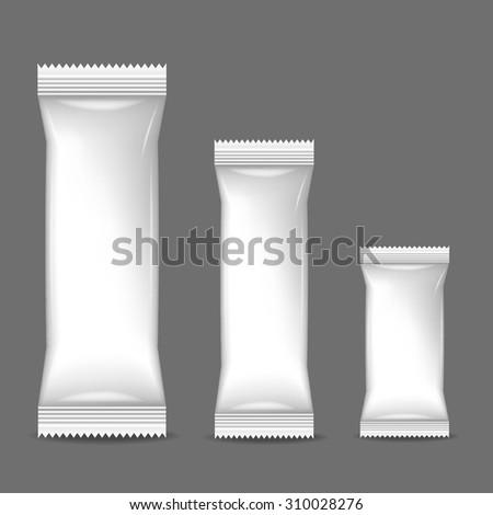 Blank Foil Food Snack Sachet Bag Packaging - stock vector