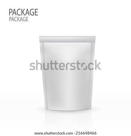 Blank foil or plastic sachet with valve and seal for coffee, cocoa,  vector - stock vector