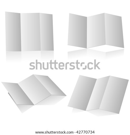 Blank folding advertising booklet isolated on white background. - stock vector