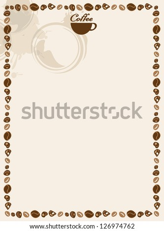 blank for coffee and tea menu - stock vector