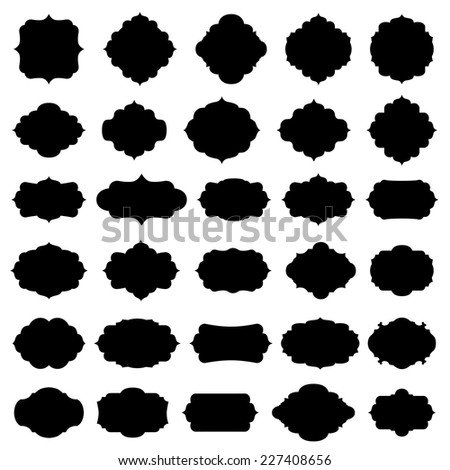 Blank frame and label set - stock vector