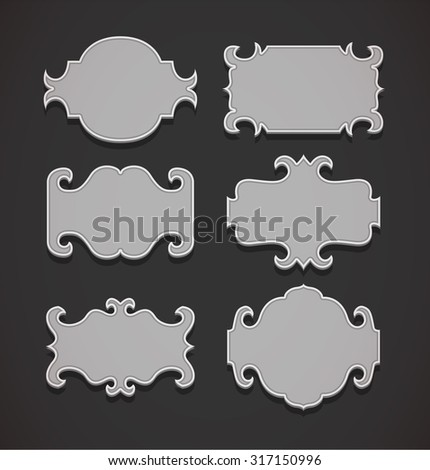 Blank frame and label  set. Vector illustration. - stock vector