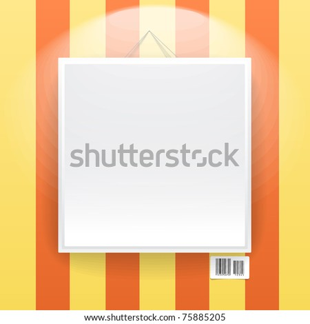 Blank frame on the wall of line wallpapers. ready for your text - stock vector