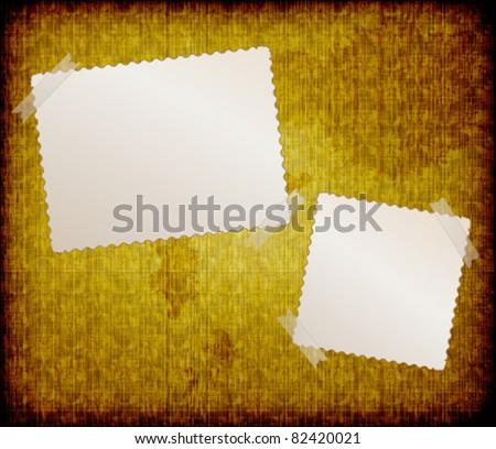 blank  frames for photo on the grunge fabric background - stock vector