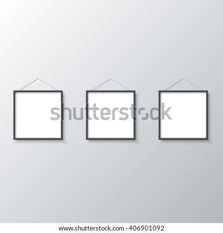 Blank frames on wall - stock vector