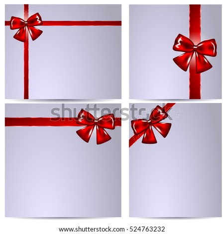 Blank Gift Card Template for Greeting Notes with Red Ribbons. Vector Illustration Set