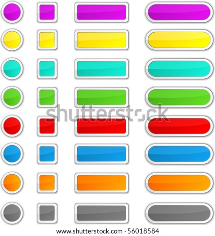 Blank glossy color buttons. Vector.