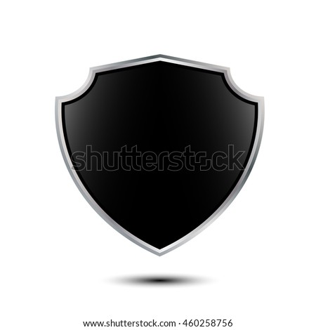 Blank glossy shield isolated on white background with place for your design and branding. Vector