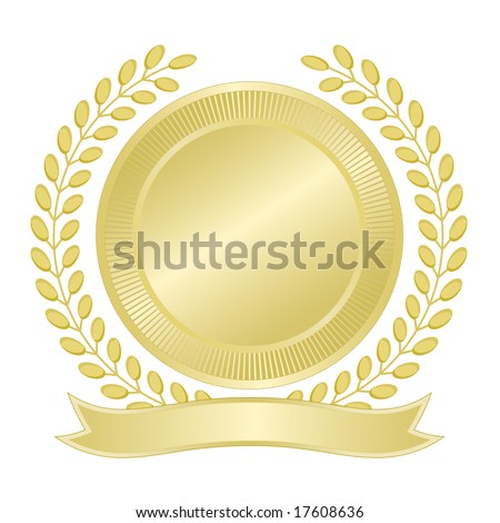 Blank gold seal with wreath of leaves and ribbon banner for award, quality assurance, anniversary, business, municipal, or commemorative use. - stock vector