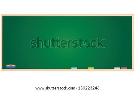 Blank green blackboard - stock vector