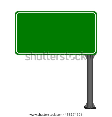 Blank green highway sign. Isolated on white background.3d Vector illustration.Front view.