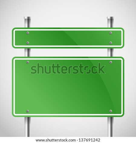 Blank green metal boards. Template for a text - stock vector