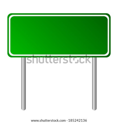 Blank green road sign on white background.