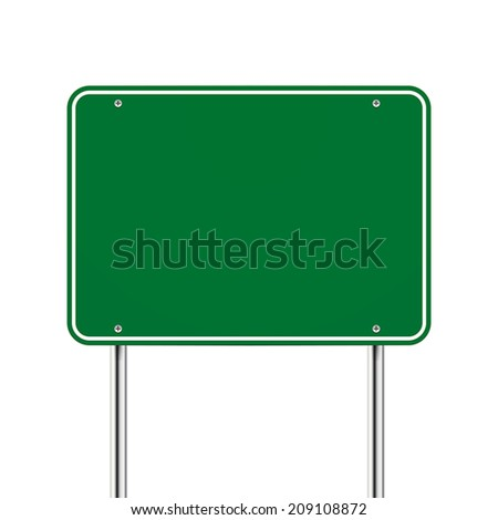 blank green road sign over white background - stock vector