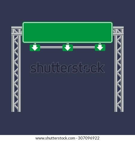 Blank green traffic road sign on black - stock vector