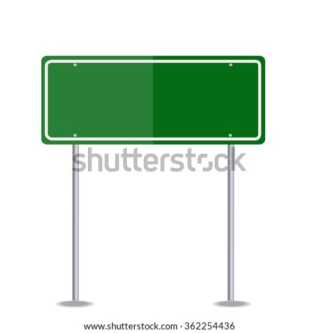 Blank Green Traffic Road Sign on White. Vector - stock vector