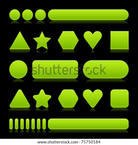 Blank green web 2.0 buttons with reflection. Colored various forms on black background - stock vector