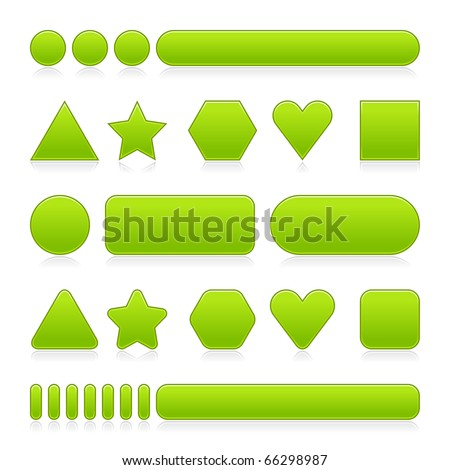 Blank green web 2.0 buttons with reflection. Colored various forms on white - stock vector