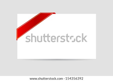 blank greeting card and golden red ribbon