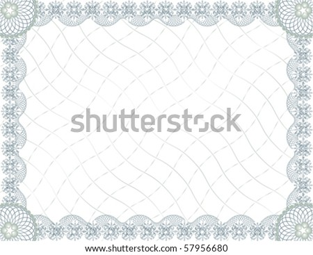 Blank guilloche certificate template; Vector