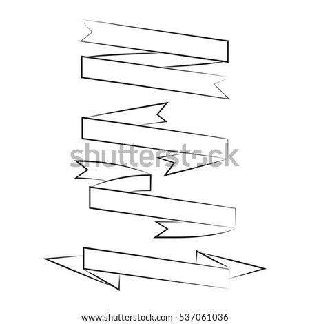blank hand drawn ribbon banner set on white background