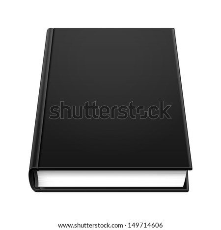 Blank Hardcover Black Book. Illustration Isolated On White Background. Vector EPS10