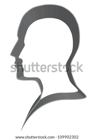 Blank head profile - stock vector