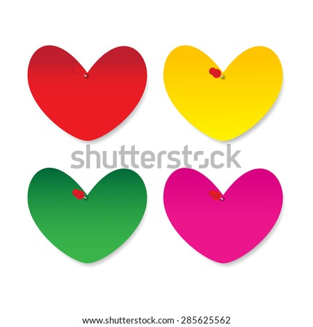 Blank heart paper note with pushpin on white background - stock vector