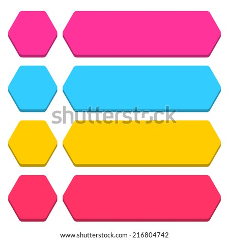 Blank hexagon and rounded rectangle icon isolated on white background in flat style. Set 03 pink, blue, yellow, magenta colors button. Vector illustration web design element in 8 eps - stock vector
