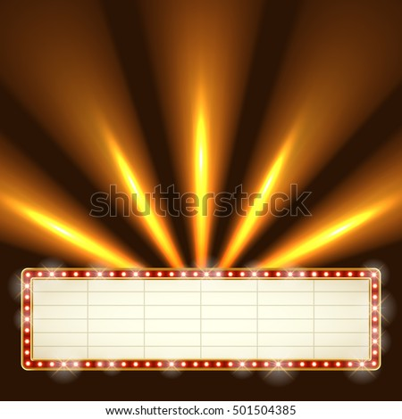 Blank Illuminated Marquee Frame Bright Searchlights Stock Vector ...