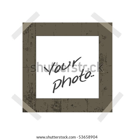 blank instant photo with room to add your own image and sticky tape - stock vector