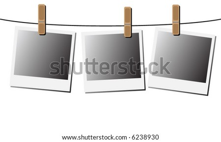 Blank instant photos, hanging from a wire. (vector)