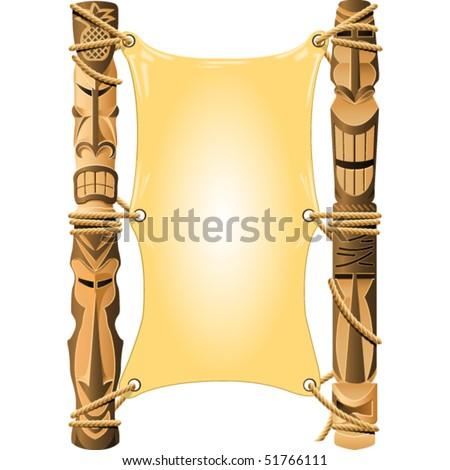 Blank invitation in Hawaii style with Tiki poles - stock vector