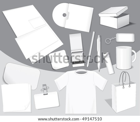 Blank isolated vector objects for your design: paper,card,bag,sticker,cd,cup,pen,layout,t-shirt etc-easy editable colors without gradients - stock vector