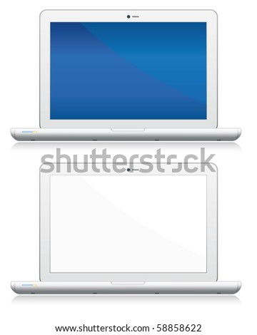 Blank laptop computers set. Vector electronic objects collection. - stock vector