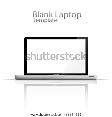 Blank Laptop with Reflection - stock vector