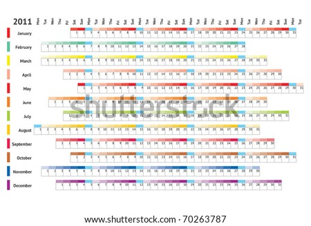 Blank linear calendar 2011 - stock vector