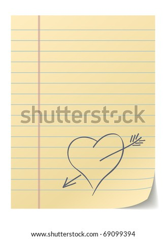 Blank lined page with hand drawn heart - love message. - stock vector