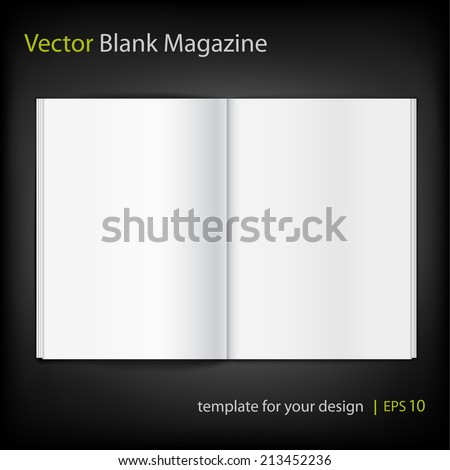 Blank magazine on black background. Template - stock vector