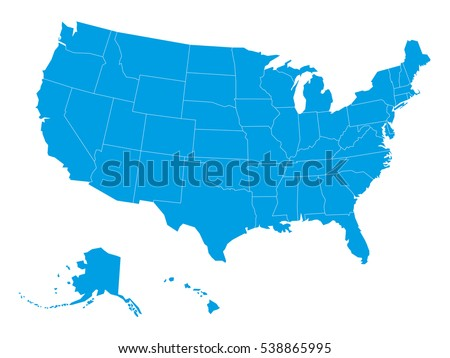Blank Map United States America Divided Stock Vector (Royalty Free ...