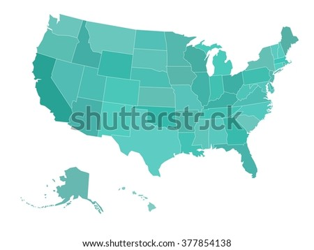 Blank Map United States America Vector Stock Vector - Blank map of the united states