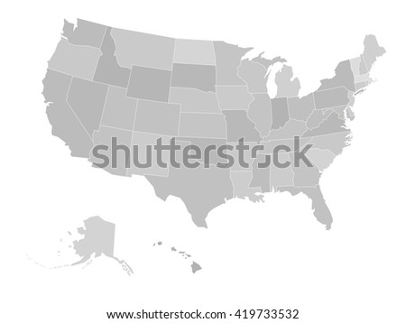 Blank map of United states of America. Vector illustration in grey shades on white background. - stock vector