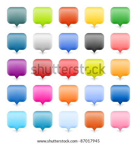 Blank map pin web button with shadow and reflection on white background. 25 colored variation for rounded rectangle icon. This vector illustration created in the technique of wire mesh - stock vector