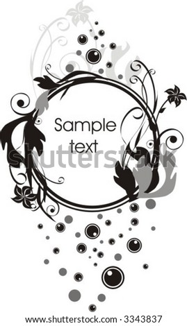 blank medallion on abstract floral background